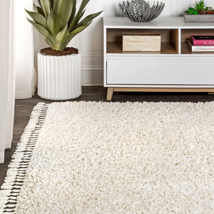 Shag Plush Tassel Cream Area Rug