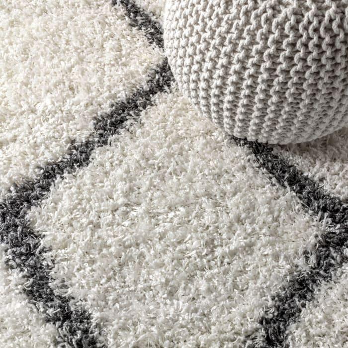 Shag Plush Tassel Moroccan Geometric Trellis Cream/Grey  4' x 6' Area Rug