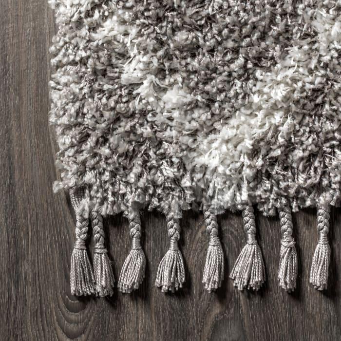 Shag Plush Tassel Moroccan Tribal Geometric Trellis Grey/Cream  4' x 6' Area Rug