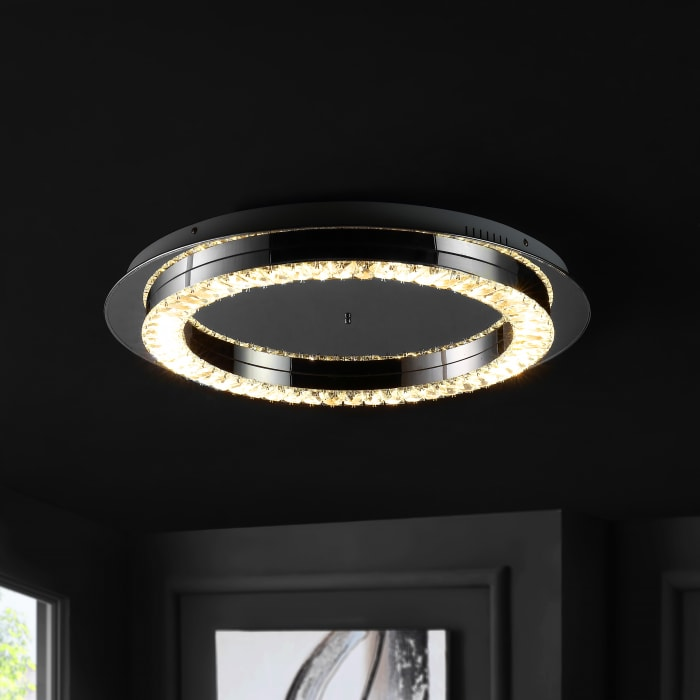 Integrated Iron/Crystal Glam LED Flush Mount, Chrome/Clear