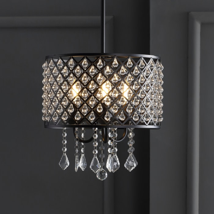 Metal & Crystal Adjustable LED Drop Pendant