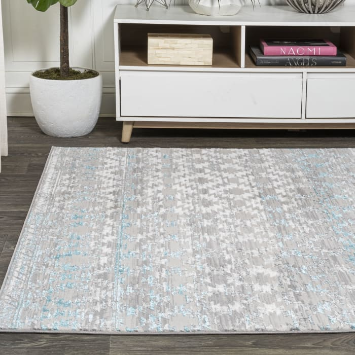 Ancient Faded Trellis Gray/Turquoise 5' x 8' Area Rug