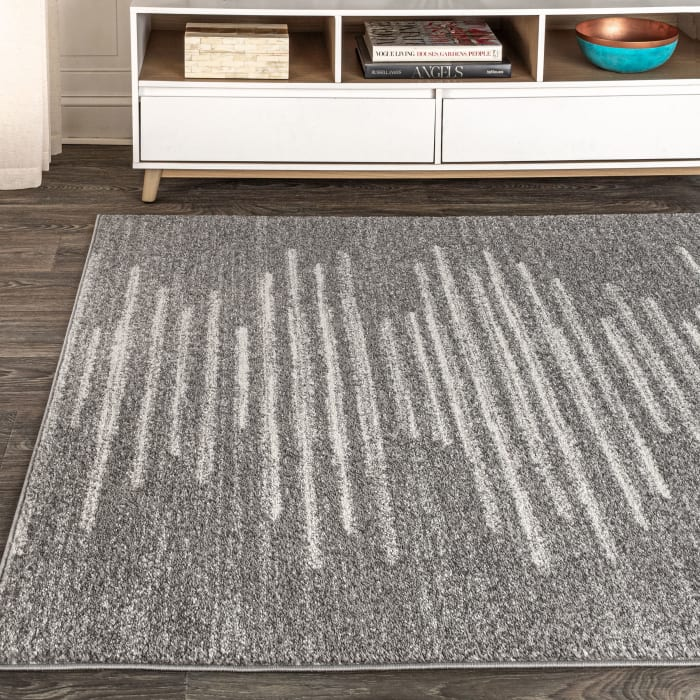 Berber Stripe Geometric Gray/Cream 4' x 6' Area Rug