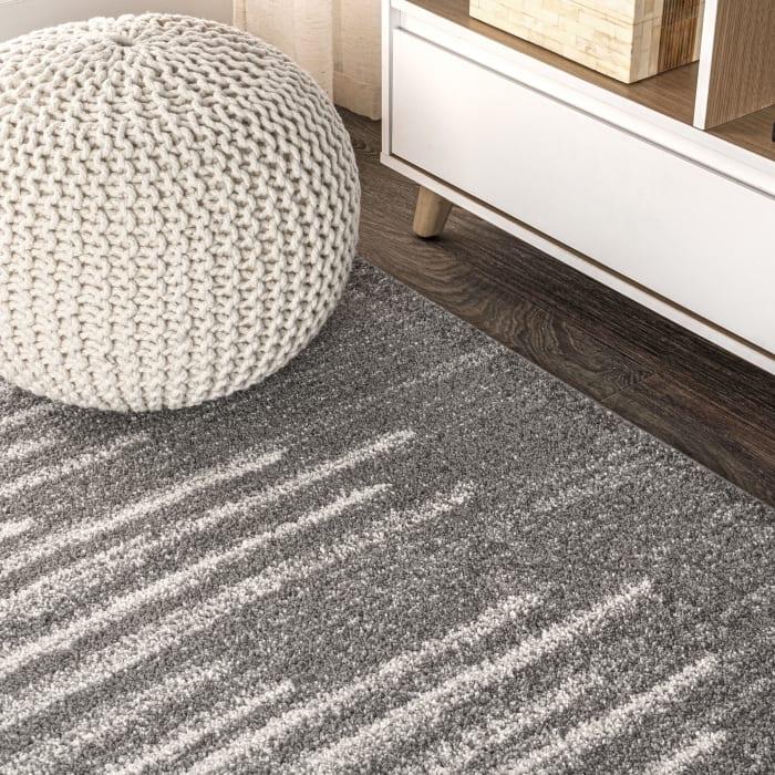 Berber Stripe Geometric Gray/Cream 5' x 8' Area Rug
