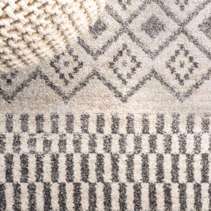 Berber Geometric Stripe Cream/Gray 5' x 8' Area Rug