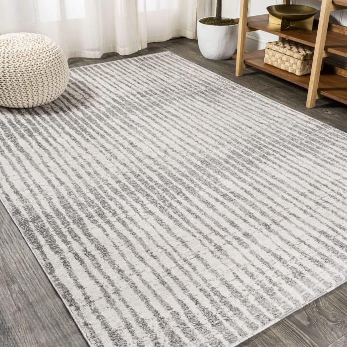 Skoura Modern Bold Stripe Beige/Dark Gray 5' x 8' Area Rug