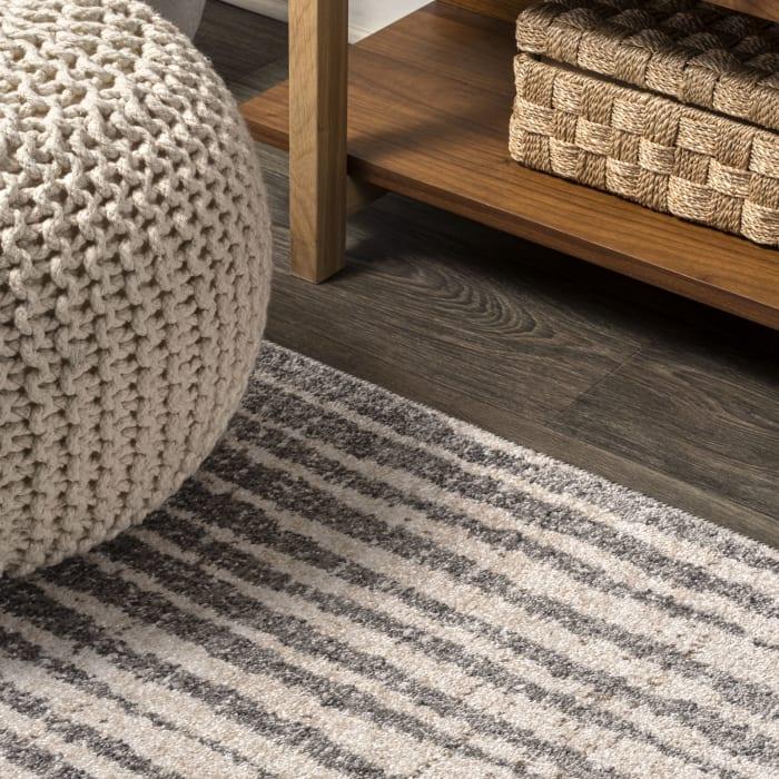 Skoura Modern Bold Stripe Beige/Dark Gray Area Rug