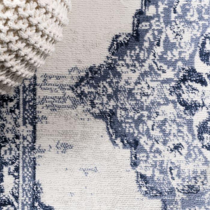 Alhambra Ornate Medallion Modern Light Blue/Ivory Area Rug