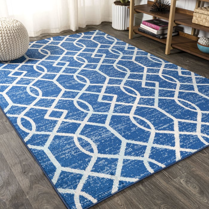 Ogee Fretwork Blue/Gray 4' x 6' Area Rug