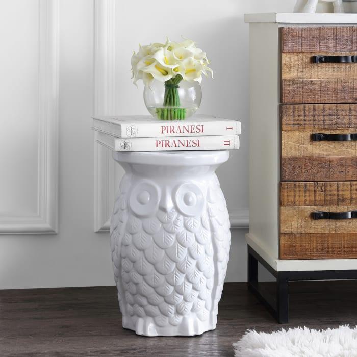 Groovy Owl Ceramic Garden Stool, White