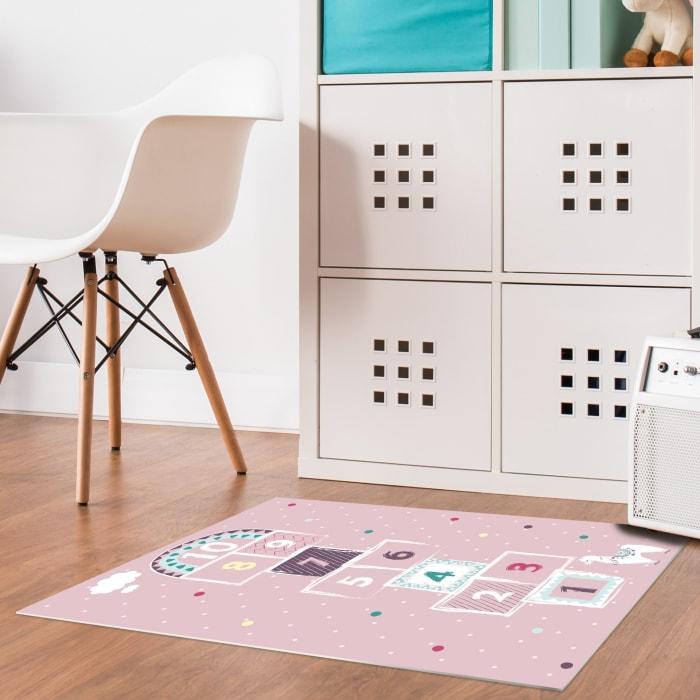 Pink Hopscotch Vinyl 2' x 3' Floor Mat