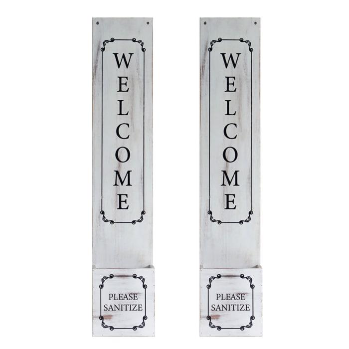 Welcome Sign with Hand Sanitizer Dispenser Holder Set of 2