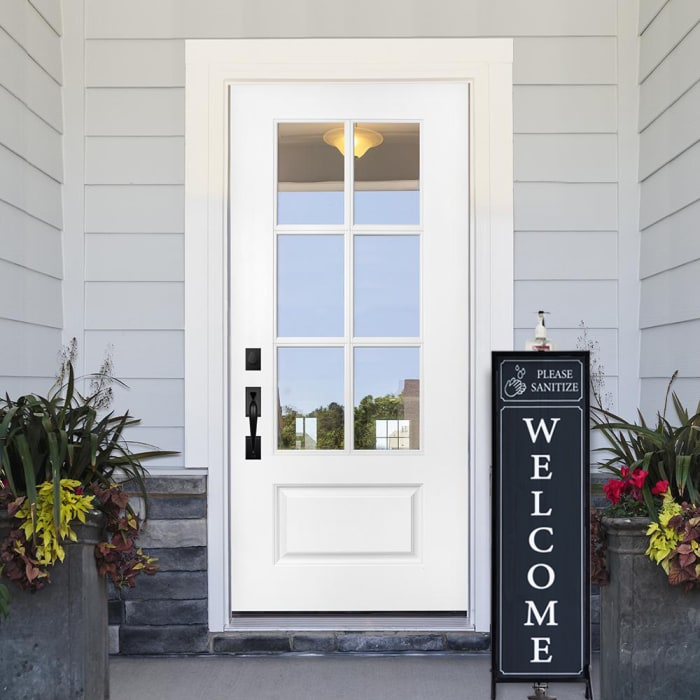 Porch Welcome Sign with Hand Sanitizer Dispenser Holder