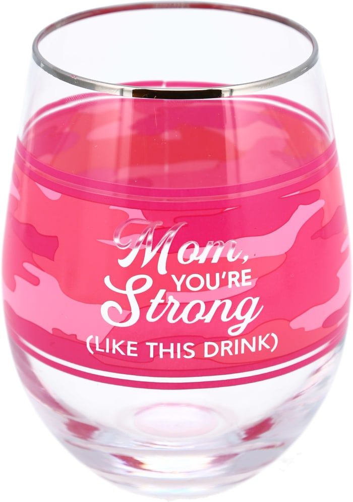Mom Stemless Wine Glass