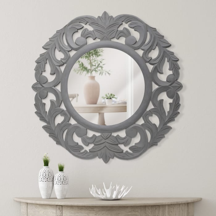 Gray Hand-Carved Mirror with Vintage Floral Motif