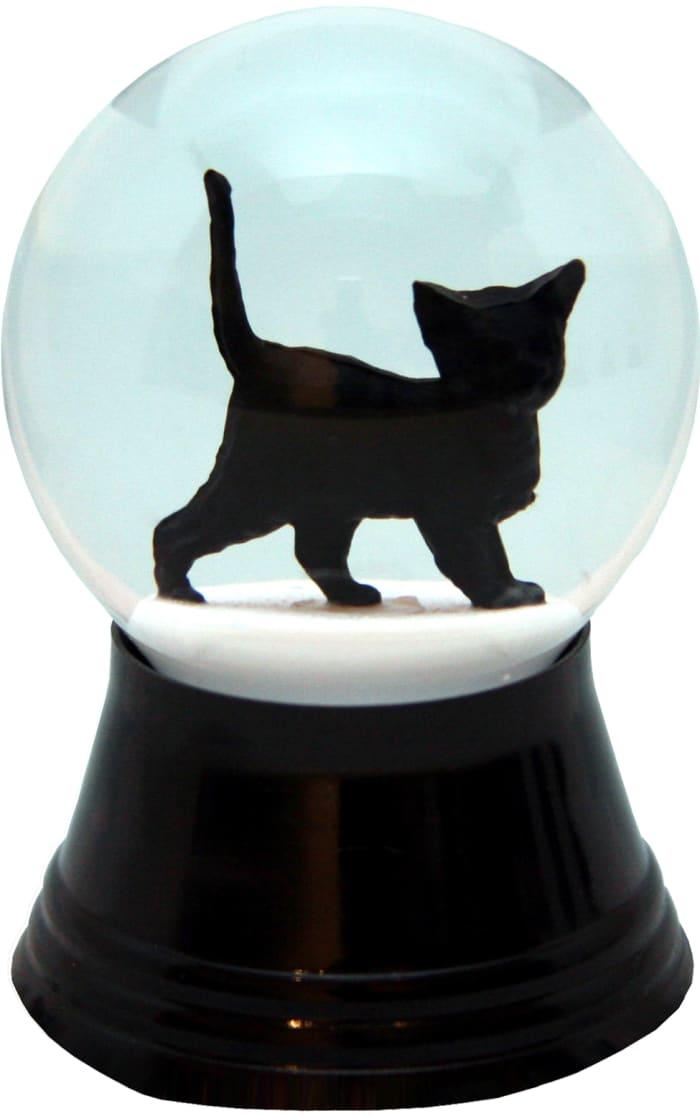 Perzy Walking Little Black Cat Snowglobe