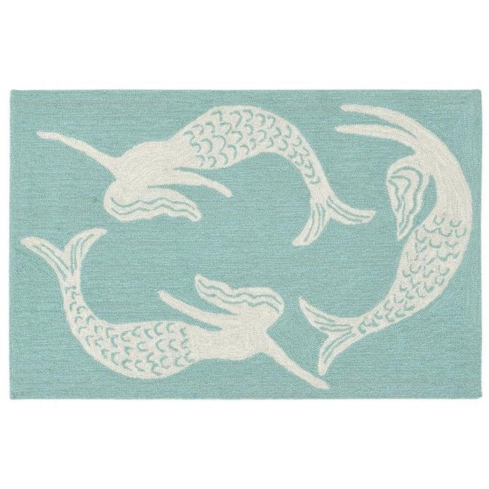 2' x 3' Indoor Outdoor Aqua Mermaids Rug