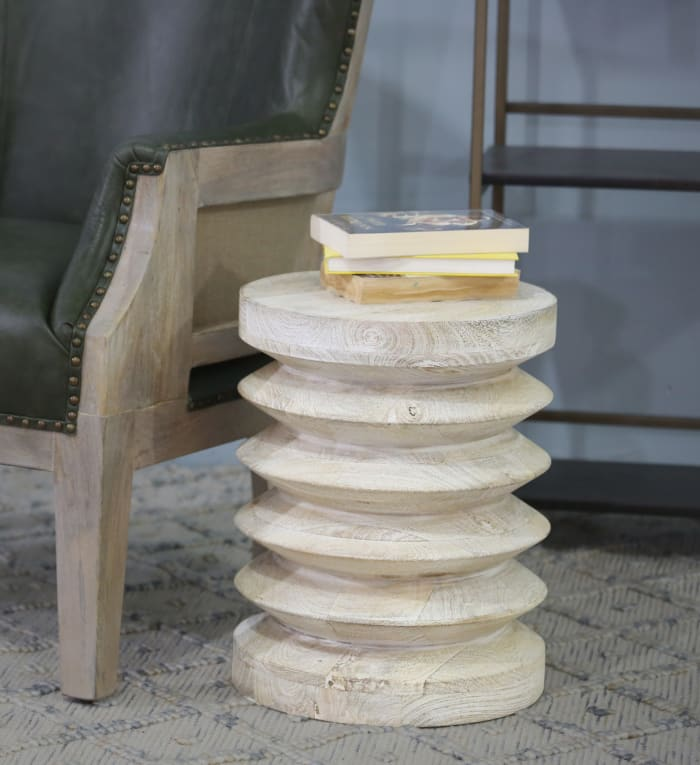 Whitewash Coil Shaped End Table
