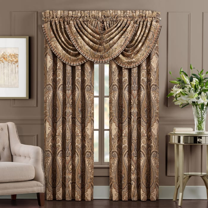 Lakeview Beige Window Waterfall Valance