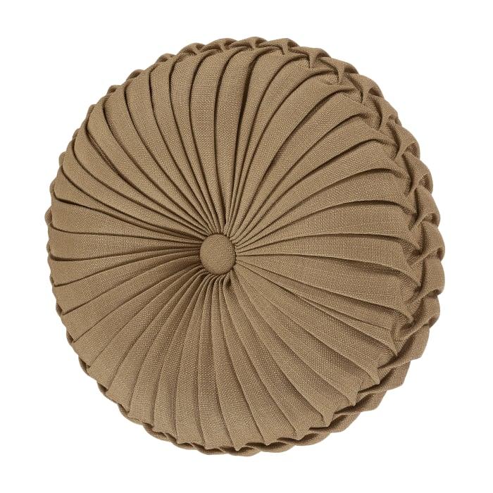 Carmella Gold Tufted Round Decorative Throw Pillow