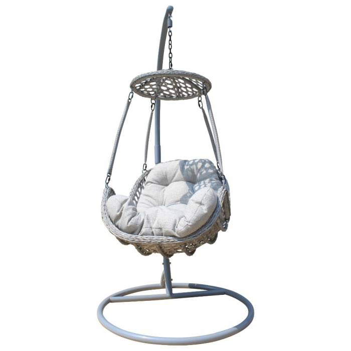 Gray Princeton 2-Piece Hanging Basket Floating Chair with Stand