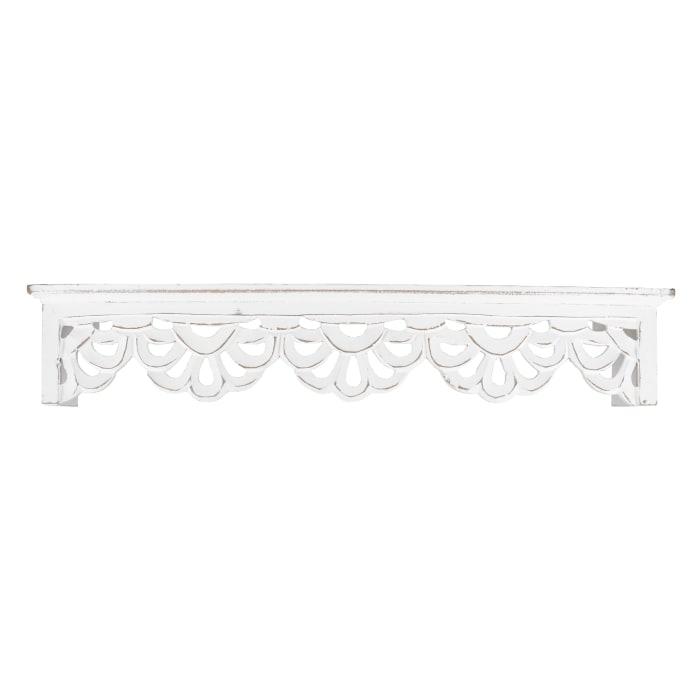 White Carved Floral Medallion Wall Shelf