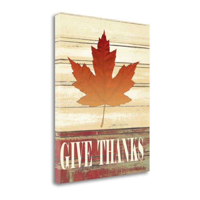 Fall Leave Give Thanks By Jo Moulton Wrapped Canvas Wall Art