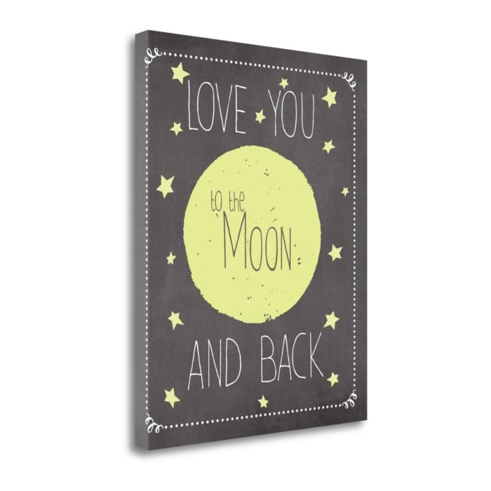 To The Moon - Yellow By Jo Moulton Wrapped Canvas Wall Art