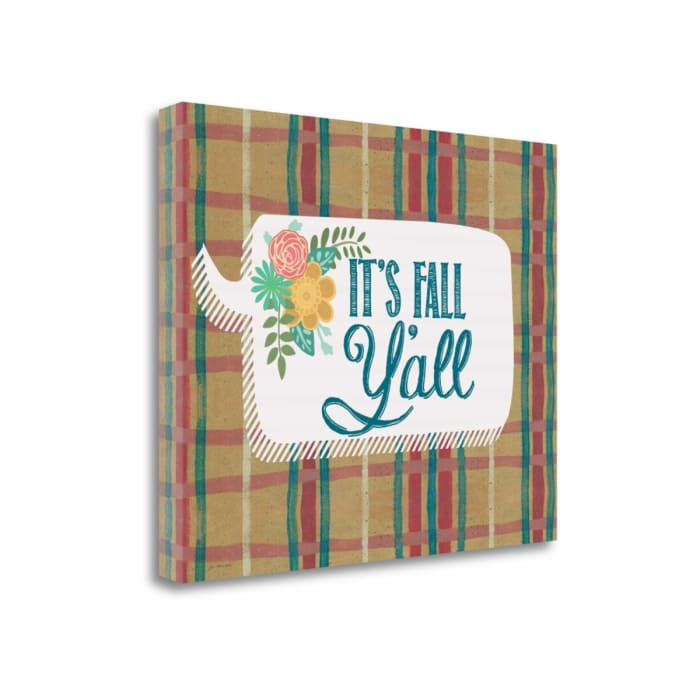 Fall Yall - Plaid By Jo Moulton Wrapped Canvas Wall Art