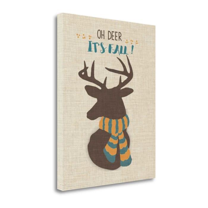 Oh Deer - Linen By Jo Moulton Wrapped Canvas Wall Art