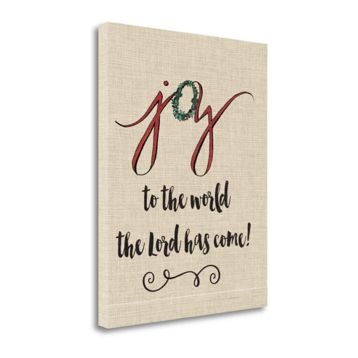 Joy To The World Linen By Jo Moulton Wrapped Canvas Wall Art