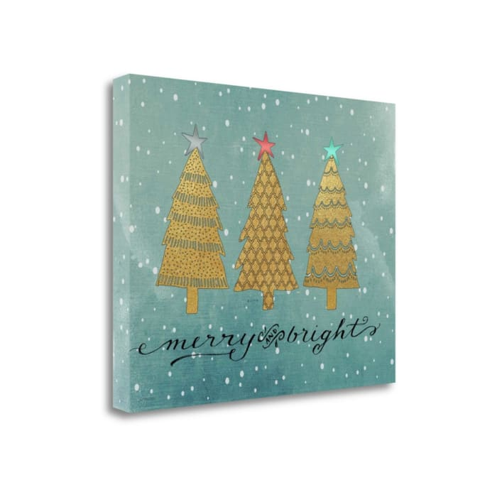 Gold Trees Merry And Bright By Jo Moulton Wrapped Canvas Wall Art