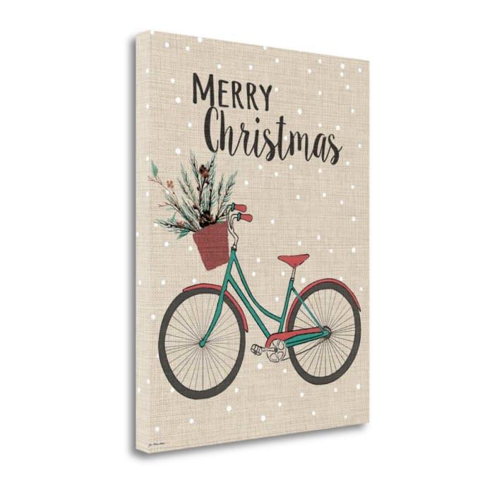 Merry Christmas Bike - Linen By Jo Moulton Wrapped Canvas Wall Art