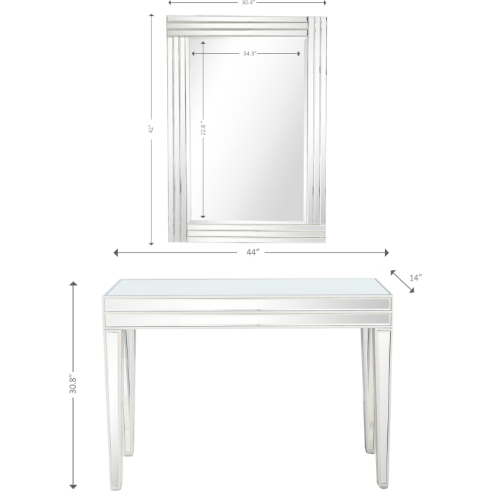 Holly Wall Mirror and Console Table Set