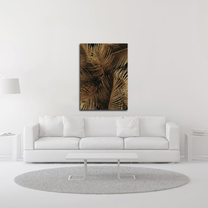 Golden Palm 2 by Design Fabrikken Wrapped Canvas Wall Art