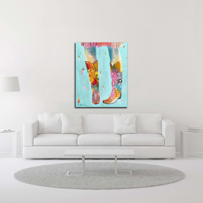 Cowgirl Boots by Pamela K. Beer Wrapped Canvas Wall Art