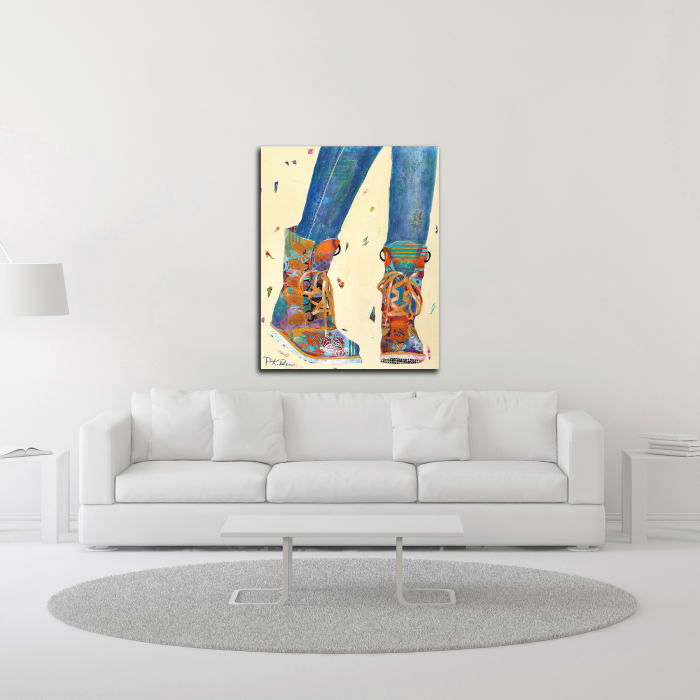 Hiking Boots by Pamela K. Beer Wrapped Canvas Wall Art