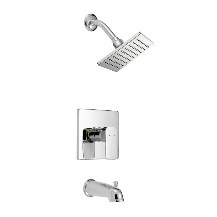 Paradise Chrome Brass Round Bathtub And Shower Faucet Set With Slim Lever Handle