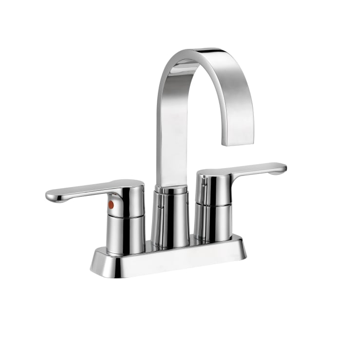 Compose Brass Chrome 4 Inch Centerset Dual Handle Stainless Steel Bathroom Faucet
