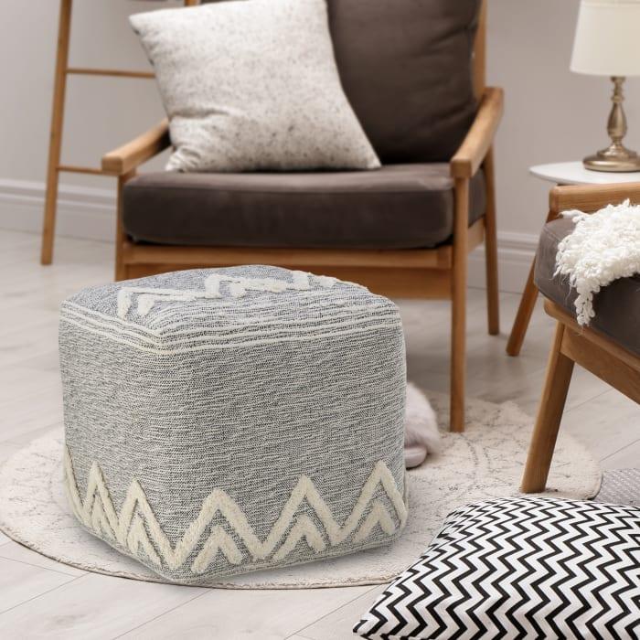 Modern Tufted Geometric Gray Pouf