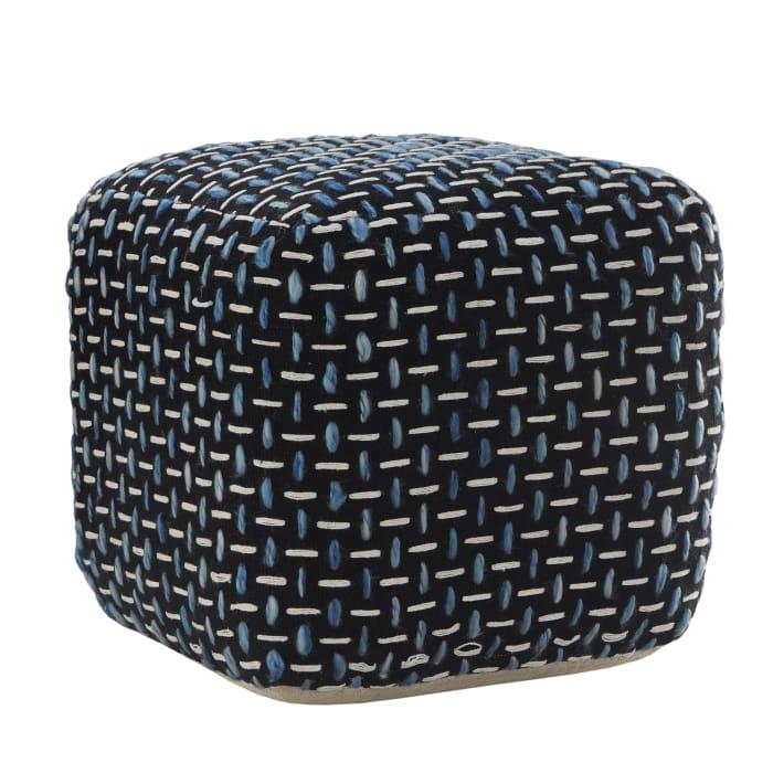 Modern Interwoven Geometric Black Pouf