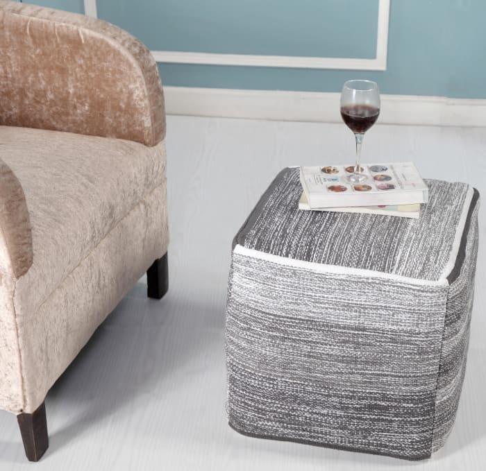 Modern Cube Greyscale Pouf