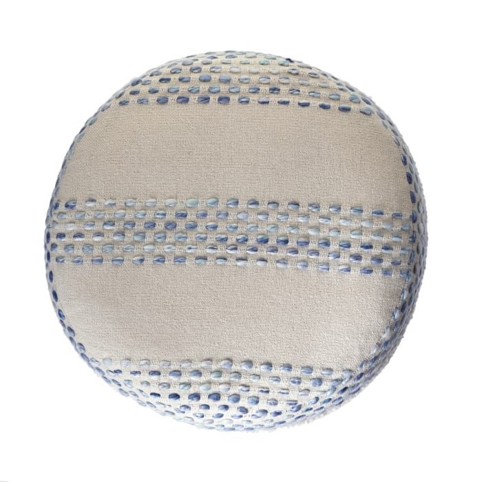 Modern Coastal Pin Dot Blue Pouf