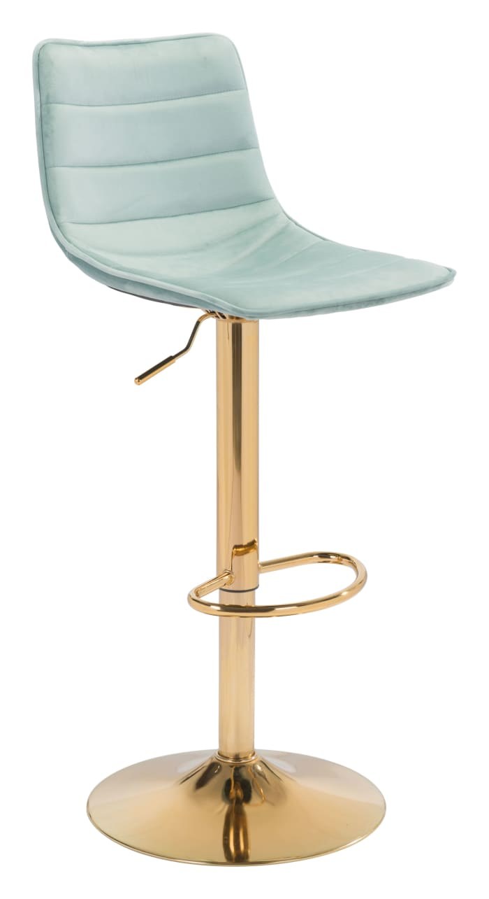 Green and Gold Velvet Steel and Plywood Bar Stool