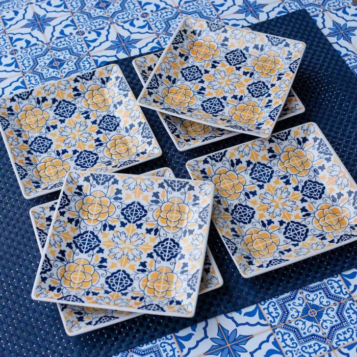 Quartier 12 Piece Blue and Yellow Square Porcelain Salad Plate Set
