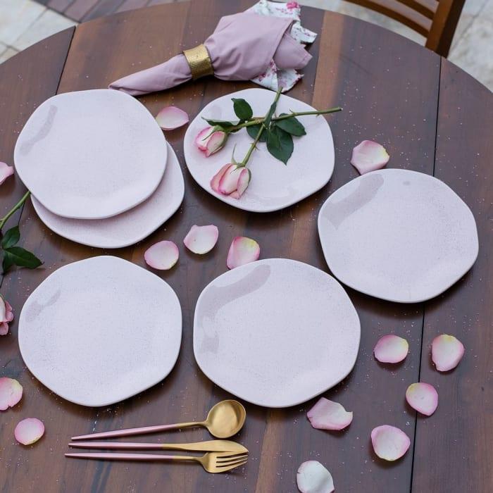 RYO 12 Piece Pink Porcelain Salad Plate Set