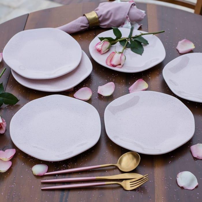 RYO 6 Piece Pink Porcelain Salad Plate Set