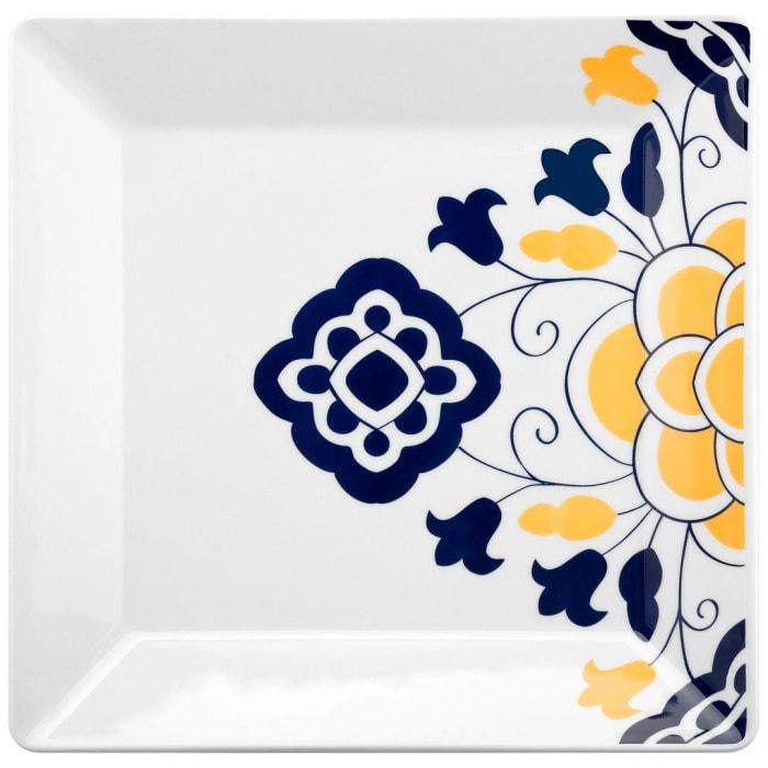 Quartier 12 Piece Blue and Yellow Square Dinner Plate Set