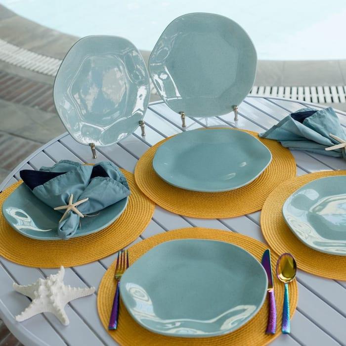 RYO 12 Piece Light Blue Dinner Plate Set