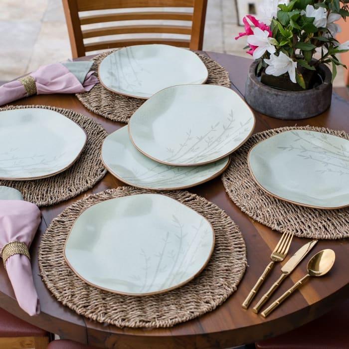 RYO 12 Piece Green Dinner Plate Set